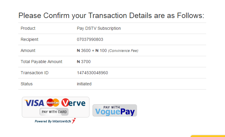 DSTV payment with ATM Card