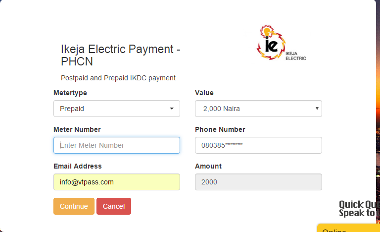 Make electricity payment on online