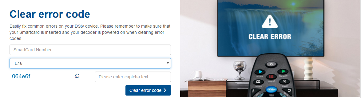 How to clear Error codes on DSTV